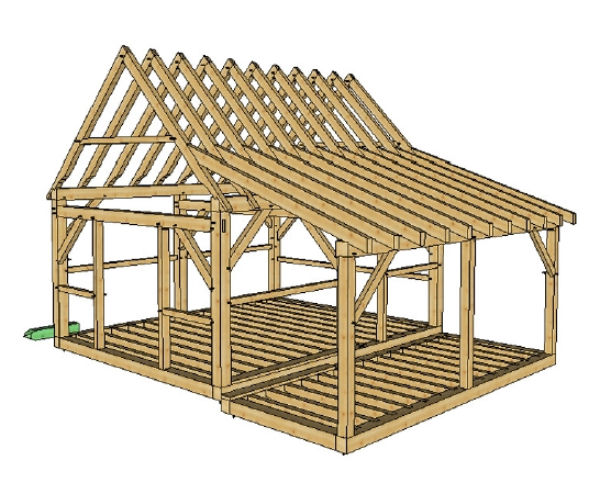 16x20 post and beam cabin with porch porch timber timber Post And Beam Cabin