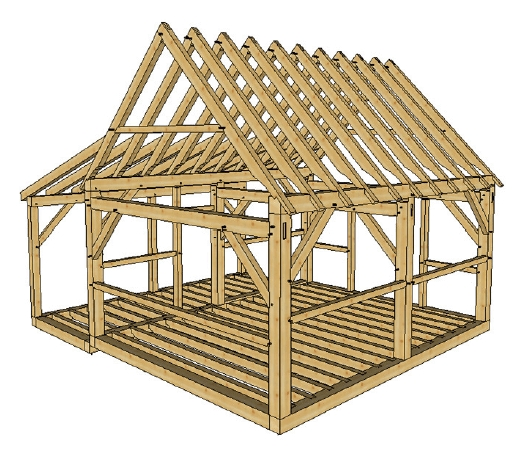 16x20 post and beam cabin with porch timber frame hq Post And Beam Cabin