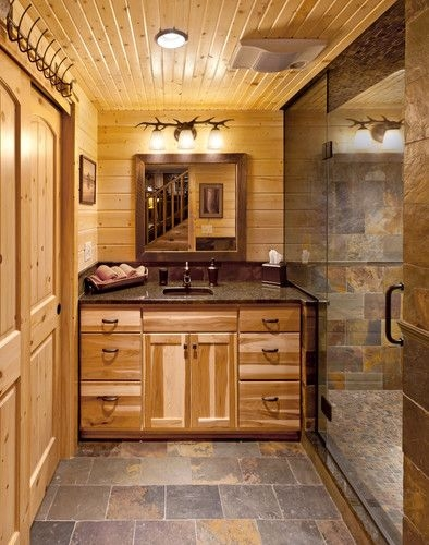 bathroom log cabin design pictures remodel decor and Log Cabin Bathroom Ideas