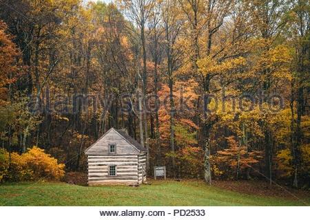 cabin and autumn color at peaks of otter on the blue ridge Peaks Of Otter Cabins