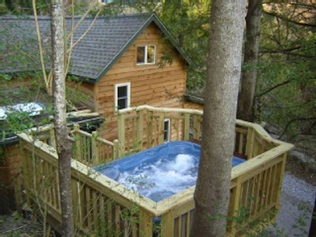 cedar creek cabin hot tub and views close to asheville and the river marshall Cabin With Hot Tub