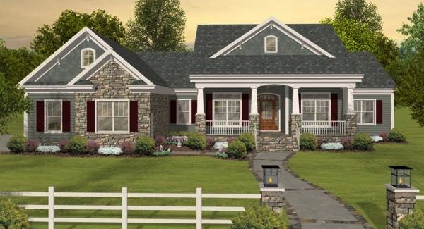 country house plans with porches low french english home plan Country Cabin Plans