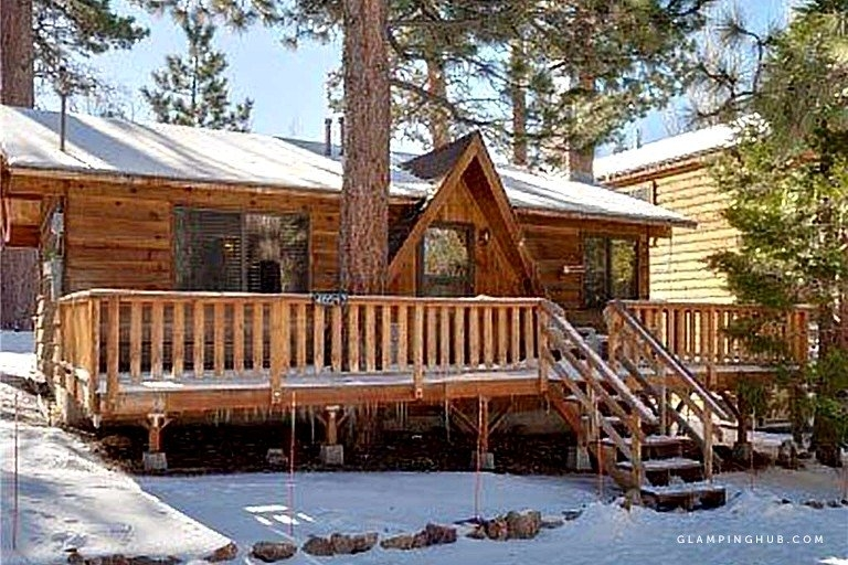 cozy cabin getaway with a wood burning fireplace in big bear lake california Big Bear California Cabins