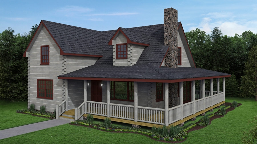 eagle creek log cabin kit great log home 2 story floor plan Log Cabin Plans With Wrap Around Porch