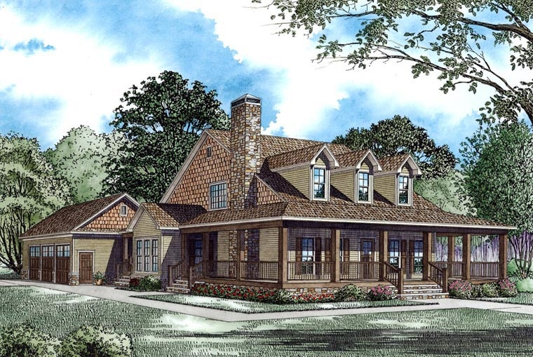 farmhouse style house plan 62207 with 4 bed 3 bath 3 car garage Country Cabin Plans