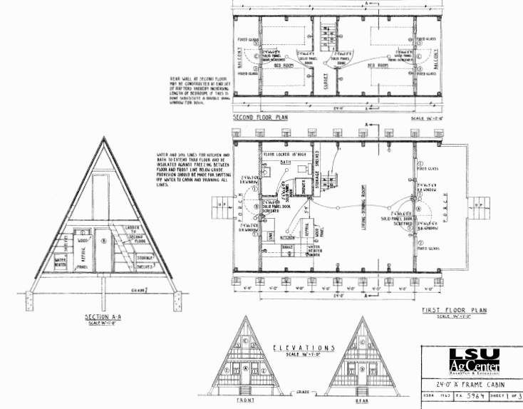 free small cabin plans A Frame Cabin Plans With Loft