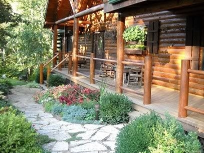 front of house landscaping porches patios tree houses Cabin Landscaping