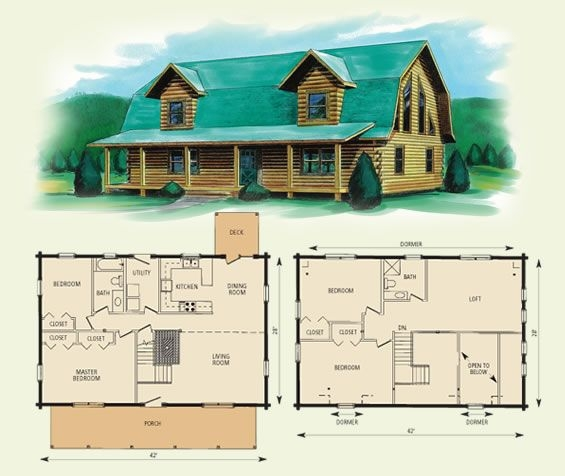 gambrel style barn homes jefferson ii log home and log Log Cabin With Loft Floor Plans