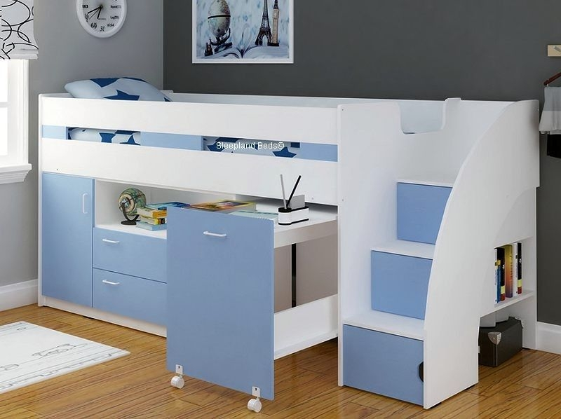 light blue mid sleeper cabin bed with storage steps cabin Kids Cabin Beds With Storage