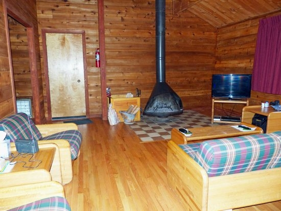 living room with fire place picture of north bend state North Bend State Park Cabins