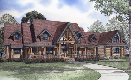 log cabin house plan 4 bedrooms 4 bath 4885 sq ft plan 4 Bedroom Cabin Plans