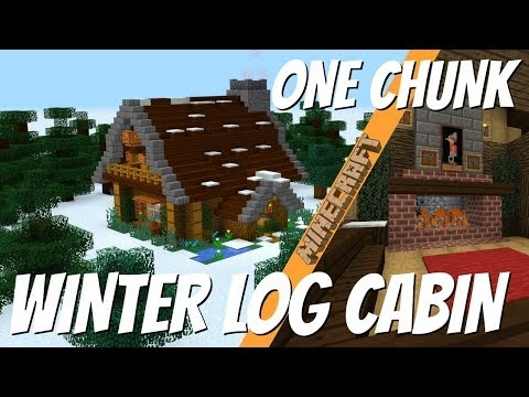 minecraft how to make a winter log cabin in one chunk 2018 Minecraft Cabin House