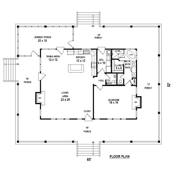 one bedroom 15 bath cabin with wrap around porch and 1 Bedroom Cabin Plans