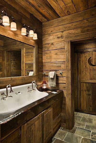 pin on dream house stuff Log Cabin Bathroom Ideas