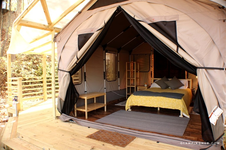 romantic woodland tented cabin rentals near the potomac river in west virginia Cabin Camping In Virginia