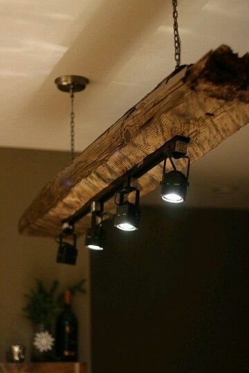 rustic lighting fixture with modern track elements urban Rustic Cabin Lighting