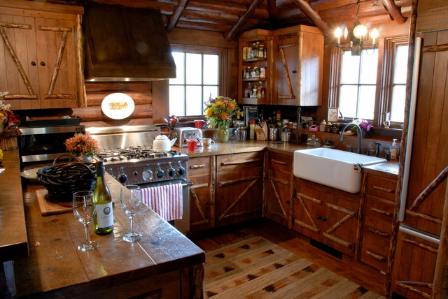 watkins historical ranch main house rustic kitchen Rustic Cabin Kitchens