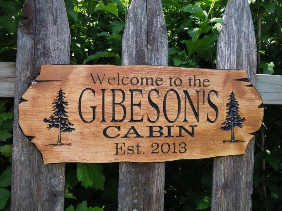 cabin sign last name personalized wooden carved rustic Cabin Sign Ideas