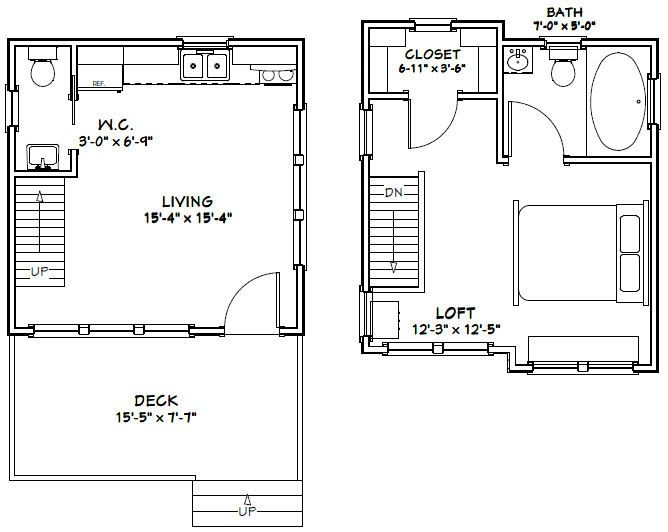 16x16 cabin 16x16 house 16x16h7 523 sq ft 16 X 16 Cabin Plans
