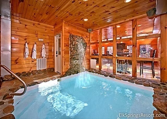 2 bedroom cabin with private indoor pool and sauna Tennessee Cabins With Indoor Pool