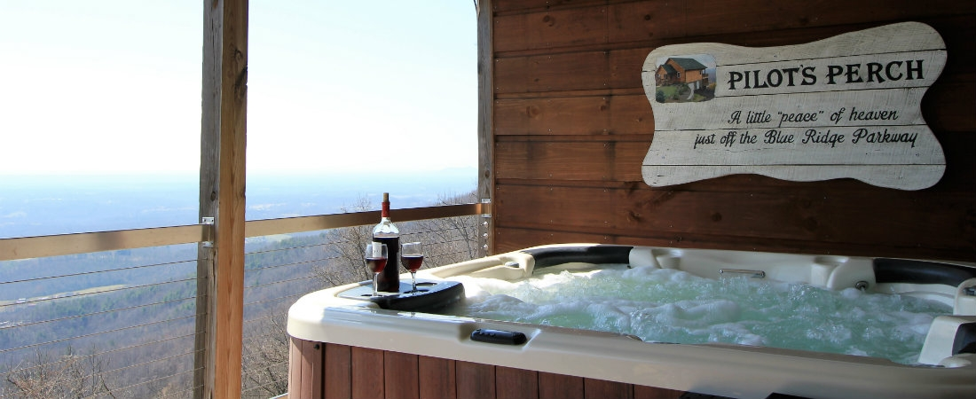 cabin in fancy gap with hot tub views of pilot mtn pilots Cabins With Hot Tubs In Va