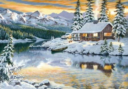 cabin on the river winter nature background wallpapers Mountain River Cabins