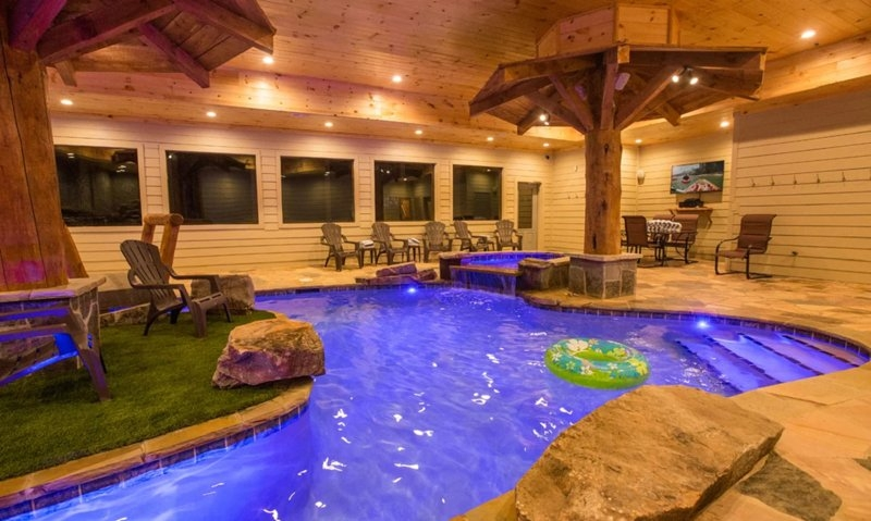 mountain lodge with an indoor pool 6 bedrooms 7 12 baths Tennessee Cabins With Indoor Pool