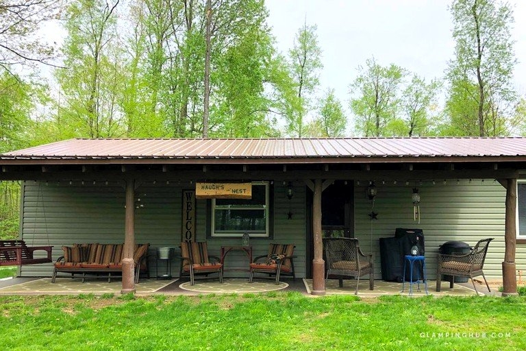 pet friendly cabin with a fire pit and large yard in the pennsylvania wilds Pet Friendly Cabins In Pa