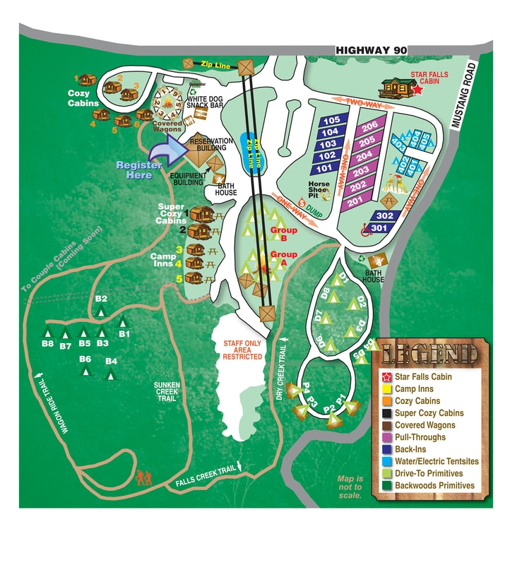 site map falls creek cabins and campground Fall Creek Cabins