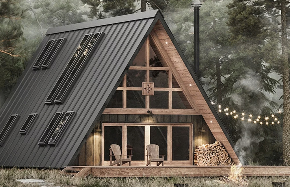 this classic a frame cabin comes in a box the spaces A Frame Cabin Kit