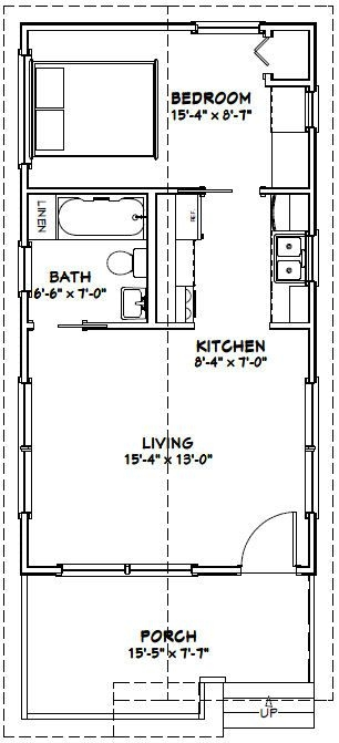 16x30 1 bedroom house 16x30h1 480 sq ft excellent 16x30 Small Cabin Plans