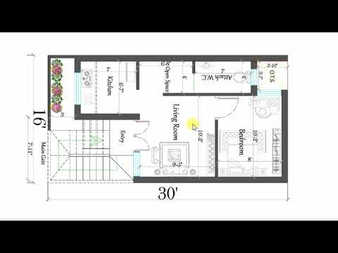 16x30 ft best small house plan youtube 16x30 Small Cabin Plans
