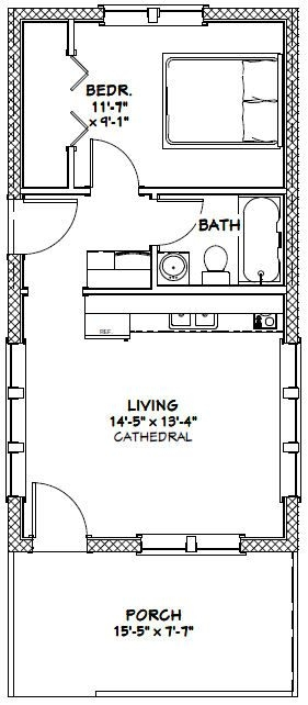 16x30 tiny house 16x30h13 480 sq ft excellent floor 16x30 Small Cabin Plans