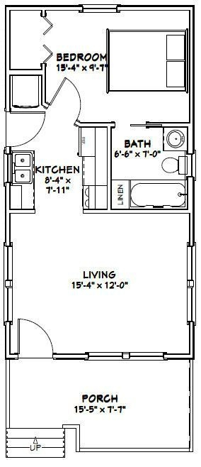 16x30 tiny house 16x30h1i 480 sq ft excellent floor 16x30 Small Cabin Plans