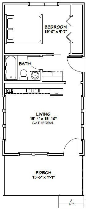 16x30 tiny house 16x30h3a 480 sq ft excellent floor 16x30 Small Cabin Plans