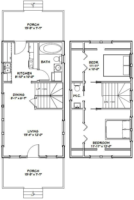 16x30 tiny house 16x30h8e 878 sq ft excellent floor 16x30 Small Cabin Plans