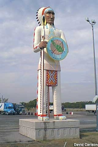big cabin ok standing brave giant indian chief Big Cabin Truck Stop