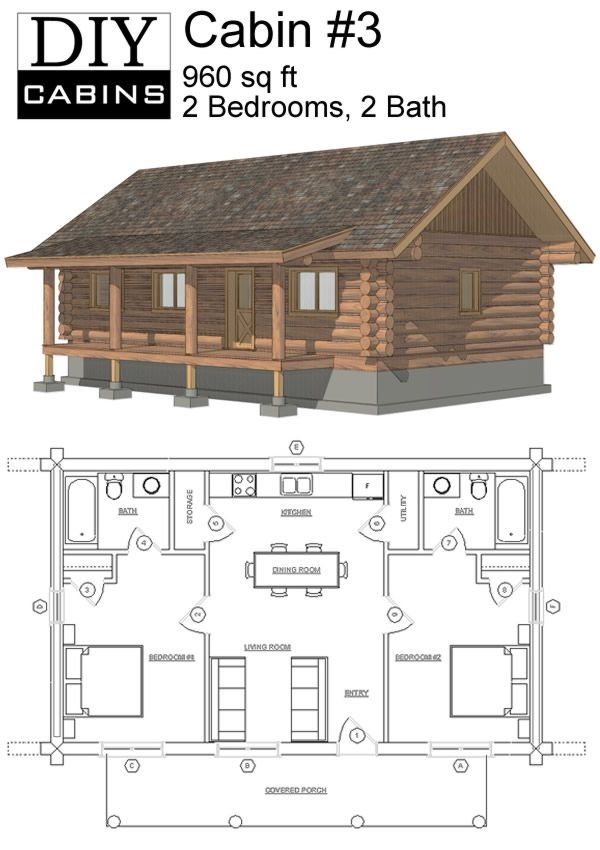 maybe widen second for bunks or add a loft space with small 2 Bedroom Cabin With Loft Floor Plans