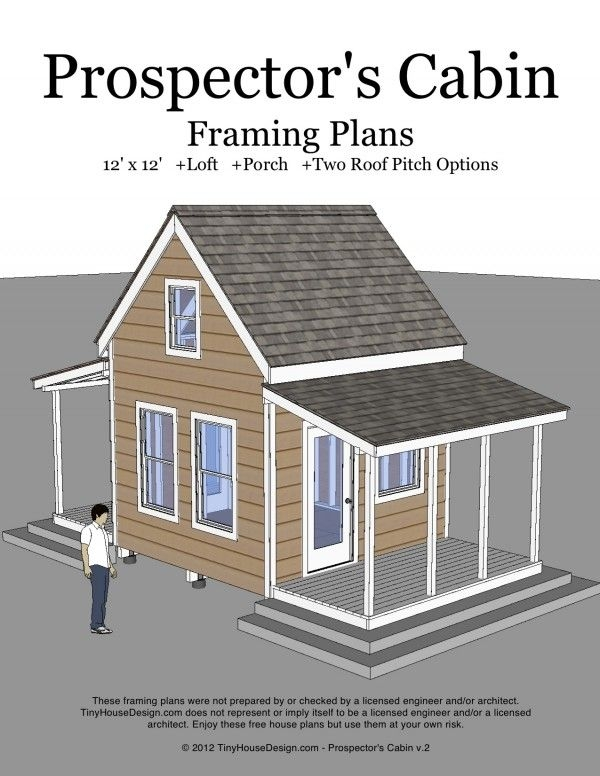 prospectors cabin 12x12 v2 cover tiny house plans tiny 12x12 Cabin With Loft