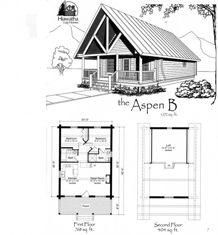 tiny house floor plans small cabin floor plans features of 2 Bedroom Cabin With Loft Floor Plans