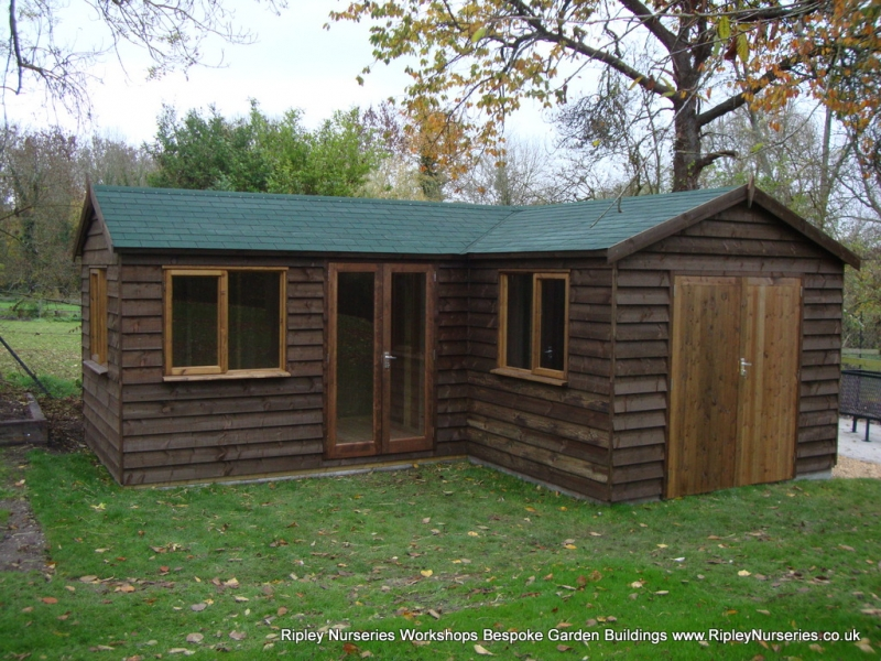 heavy duty workshop 22×20 l shaped stained featheredge L Shaped Garden Log Cabin