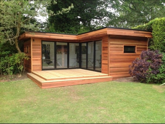 l shape contemporary garden room contemporary garden rooms L Shaped Garden Log Cabin