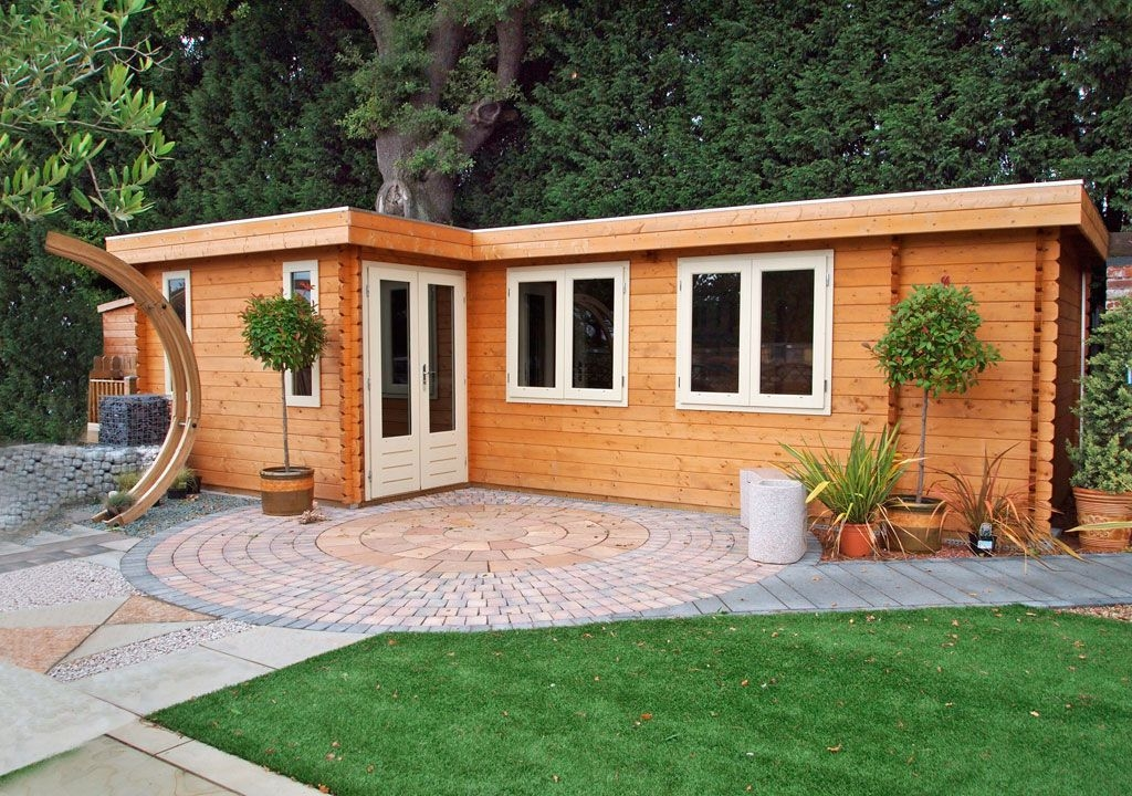 large l shaped bordeaux summerhouse complete with a L Shaped Garden Log Cabin