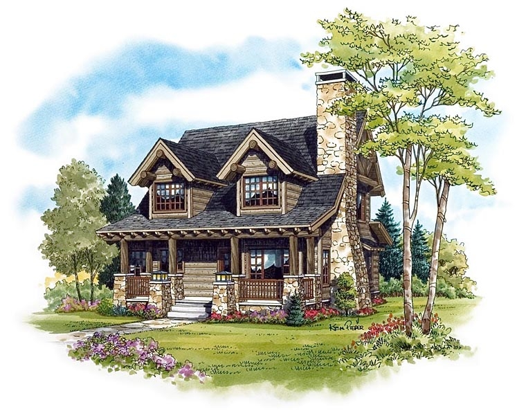 log style house plan 43212 with 2 bed 2 bath Bedroom Log Cabin Plans