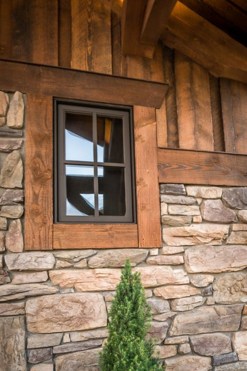ranchwood2 window trim exterior exterior stone Log Cabin Exterior Window Trim