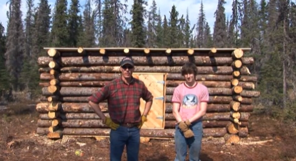 tiny pioneer log cabin in alaska built in 15 days Building A Log Cabin By Hand