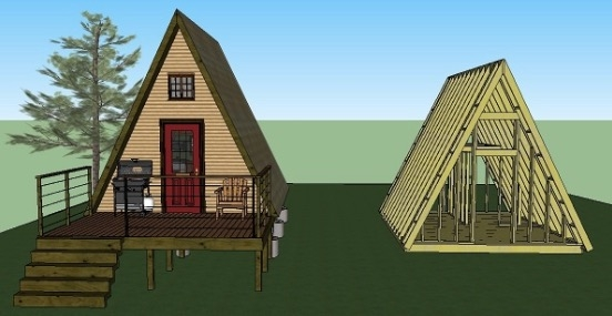 Cozy 14x14 tiny a frame cabin plans lamar alexander 14x14 Cabin With Loft Inspirations