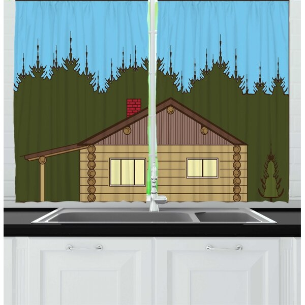 Modern 2 piece log cabin cartoon image of a rustic cabin in nature near dense forest art kitchen curtain set Perfect Rustic Cabin Pictures Ideas