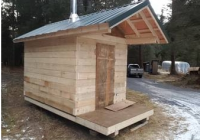 12 x 8 with 4 x 8 deck 4 x 8 rectangular logs 2 x 8 floor Log Cabin On Skids