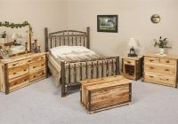 amish rustic cabin hickory wood wagon wheel bedroom furniture set Cabin Bedroom Furniture